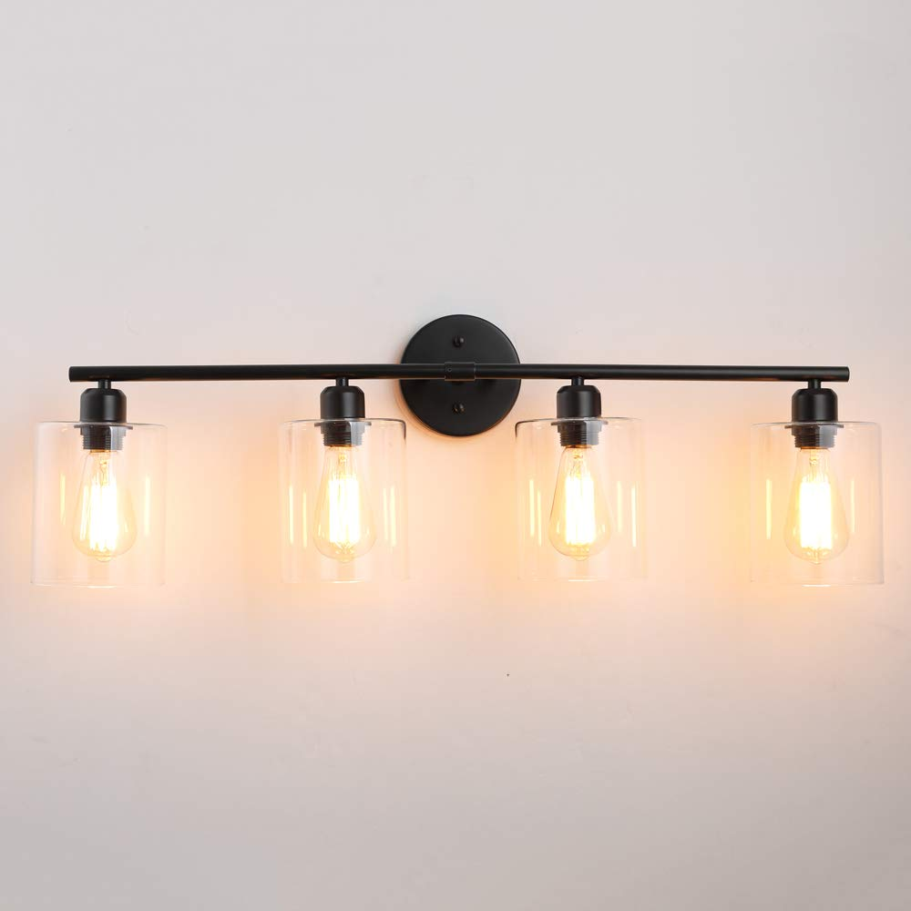 Dressing Table 4 Lights Vintage Edison Wall Lamp Light Fixture for Bathroom 4-Light-Industrial-Bathroom-Vanity-Light Hardwire Industrial Glass Wall Sconce Vanity Table