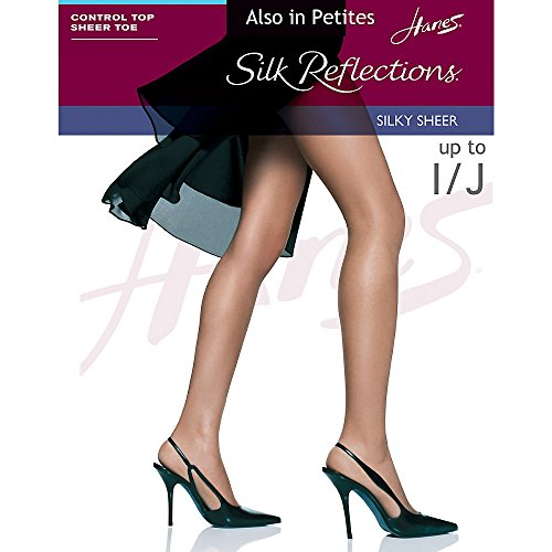 Nylon Sheer Pantyhose (Hanes Womens Set of 3 Silk Reflections Control Top Sheer Toe Pantyhose CD, Barely There)