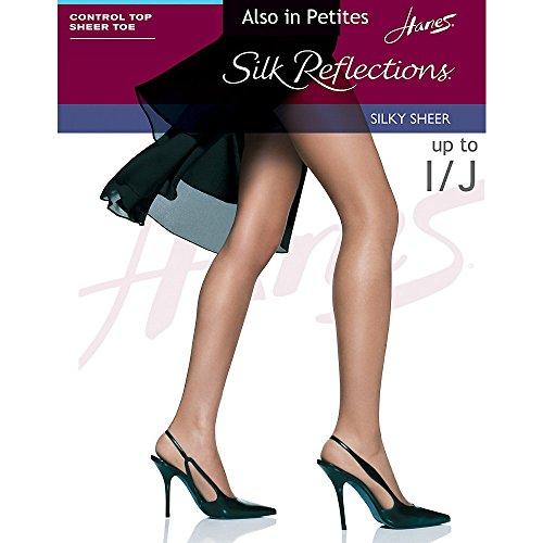 ns Women's Silky Sheer Control Top Sandalfoot Hosiery, Jet, AB (Pack of 3) ()