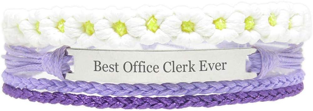 Miiras Job Engraved Handmade Bracelet for Women - Best Office Clerk Ever - White FL-PP - Made of Braided Rope and Stainless Steel - Gift for Office Clerk