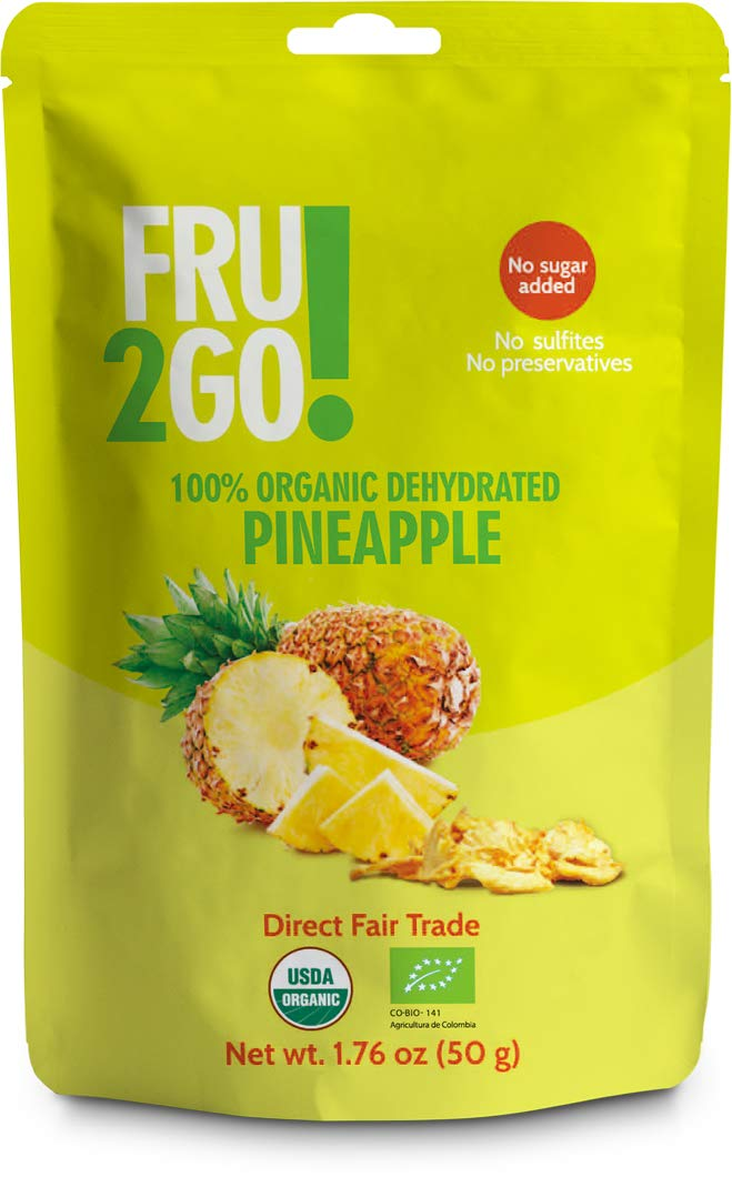 Fru2Go Organic, Dehydrated Pineapple Slices - 1.76 oz (Pack of 12) - No Sugar Added - All-Natural Pineapples - Raw - Direct Fair Trade Fruit - from Colombia by Fru2Go (Image #1)