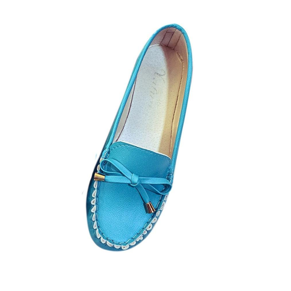Mocassins Femmes, QinMM Mode papillon Printemps B0728485FQ Eté En Bleu Cuir Souple Flats chaussures, Casual Noeud papillon confort gliss Flat Bleu cd2e4da - jessicalock.space