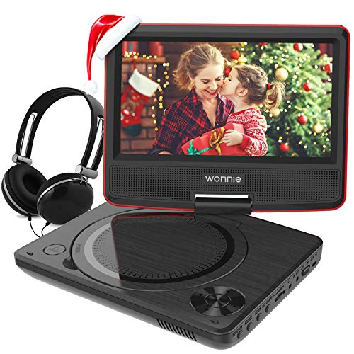 9.5 Inch Portable DVD Player with 7.5 inch Swivel Screen, USB / SD Slot and 4 Hours Rechargeable Battery, for Kids ( Red )