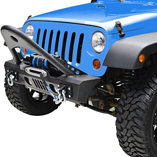 RF Jeep Wrangler JK Black Textured Front Bumper with Stinger and Built In Winch Plate and Light Holes