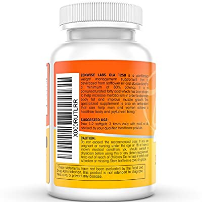 CLA 1250 - Plant Derived Weight Loss Supplement for Men & Women - Natural Muscle Builder With Safflower Seed Oil - 180 Softgel Capsules - Powerful Immune System Support + Energy Booster -Zenwise Labs