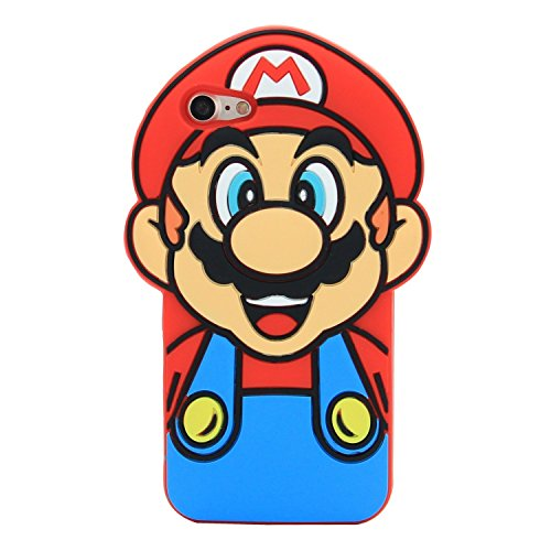 Red Super Mario Case for iPhone 7 8 iPhone7 iPhone8 Regular Size Soft Silicone 3D Cartoon Cool Decent Lovely Fun Decent Shockproof Shock Drop Proof Resistant Protective for Kids Boys Men Guys Girls