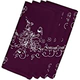 4 Piece Purple Napkin (19''), Contemporary Style, Polyester Material, Birds Floral Print Pattern, Decorative Table Top Napkin Type, Suitable For Everyday, Special Occasions, Dark Plum