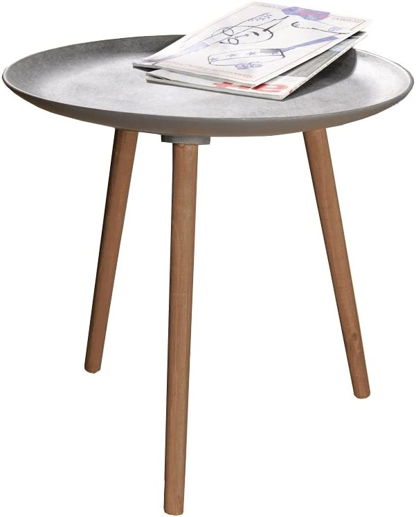 PierSurplus Waterproof 21.5 in. Round Accent Table with 3 Wooden Legs Product SKU HD221570