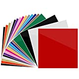 "Heat Transfer Vinyl 12"" x 10"" - 20 Sheets Assorted Colors DIY T-Shirt Heat Transfer Bundle Iron On HTV for Cricut and and Other Cutters (20PCS)"