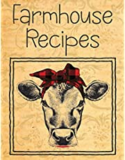 Farmhouse Recipes: Vintage Cow Blank Recipe Book For To Write In   Big Empty Two Page Custom Cook Book Journal