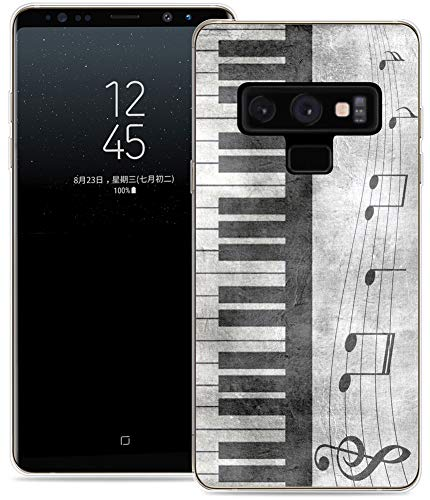 (Case for Note 9 Music/IWONE Protective Durable TPU Rubber Fashion Designer Cover Skin Compatible for Samsung Note 9 for Galaxy Note9 + Retro Musical Piano Music Note Design)