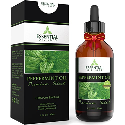 Peppermint Oil - Therapeutic Grade 10% Menthofuran - 1 fl. oz with Glass Dropper - Premium Select from Essential Oil Labs