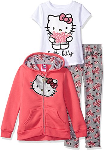 Hello Kitty Little Girls' 3 Piece Hooded Legging Set, New Pink, 6 by Hello Kitty