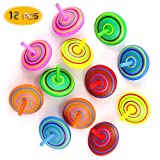 Bignc-12-Pack-Multicolor-Wooden-Spinning-Top-Toy--Wood-Handmade-Spinning-Learning-Toys-for-Boys-Girls
