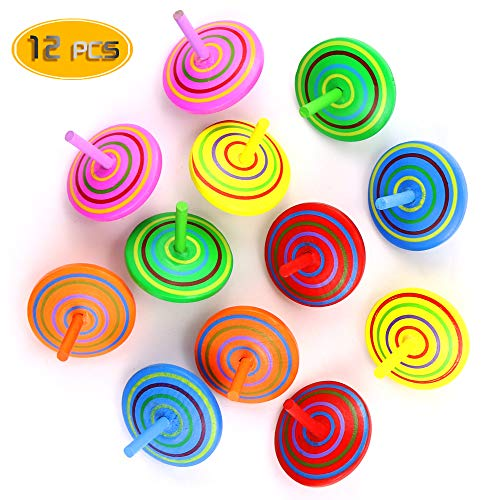 Bignc 12 Pack Multicolor Wooden Spinning Top Toy - Wood Handmade Spinning Learning Toys for Boys Girls