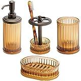 mDesign Bath Accessory Set, Soap Dispenser Pump, Toothbrush Holder, Tumbler, Soap Dish - 4 Pieces, Amber/Bronze