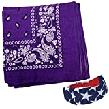 Bandana - Pack of Bandanas - 12 Purple Cotton Bandanas by Funny Party Hats