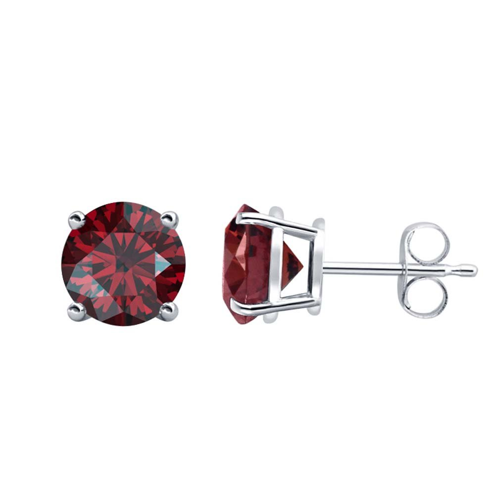Fancy Party Wear Round Cut Red Garnet Solitaire Stud Earrings 14K White Gold Over .925 Sterling Silver For Womens /& Girls 3MM TO 10MM