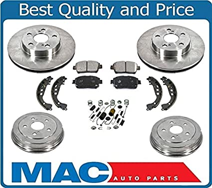 802a3009b2 Amazon.com  04-08 Prius Front Brake Rotors   Ceramic Pads Rear Drums ...