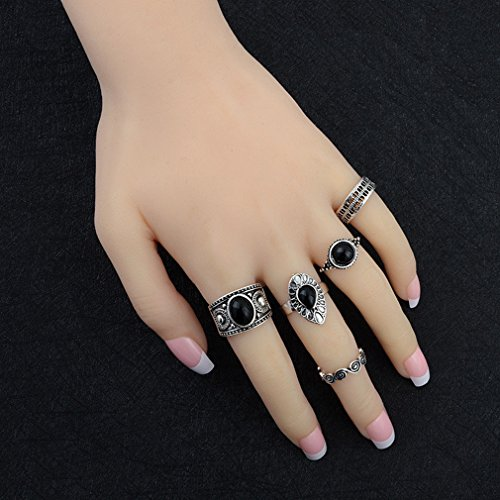 UNKE 5pcs/Set Retro Black Gemstone Antique Finger Ring Set Rings,Sliver