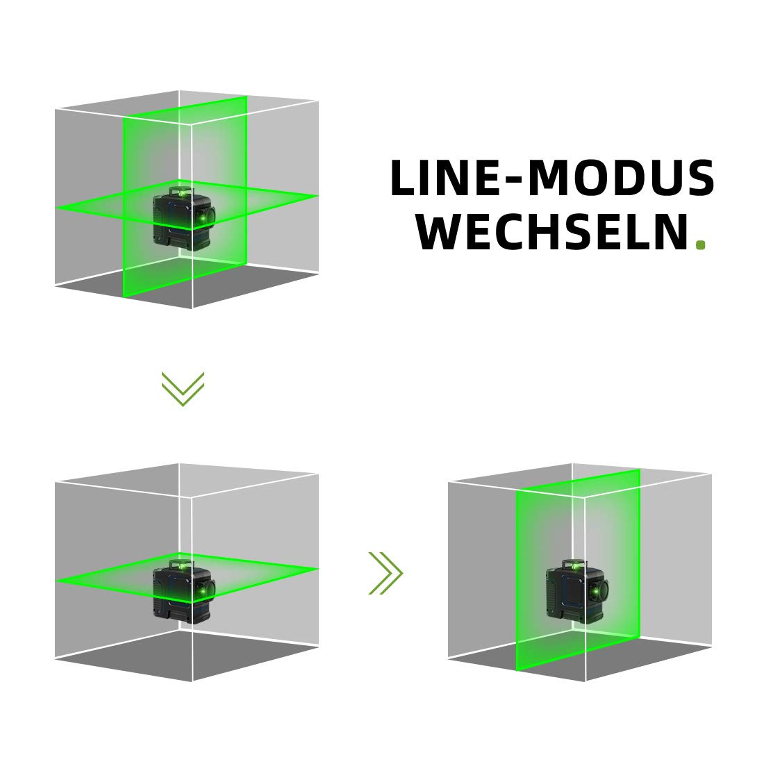Kreuzlinienlaser Gr/ün Akku Kreuzlinienlaser 3 x 360/° Grad Linienlaser Selbstnivellierenden Laser Level mit Pulsfunktion Kreuzlinien-Nivellierwerkzeug inkl Magnetische Halterung