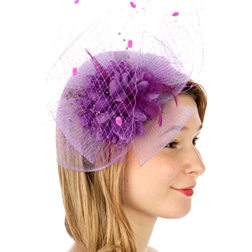 SERENITA Fascinator for Women, with Lace Flower Dress Hat, Wedding & Party by SERENITA (Image #4)