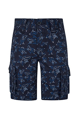 Cotton Mountain 100 Short (Mountain Warehouse Printed Kids Cargo Shorts -100% Cotton Summer Pants Navy 5-6 Years)
