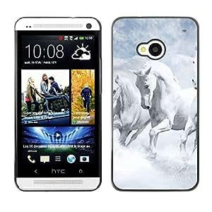 Caucho caso de Shell duro de la cubierta de accesorios de protección BY RAYDREAMMM - HTC One M7 - White Horses Sky Nature Clouds God