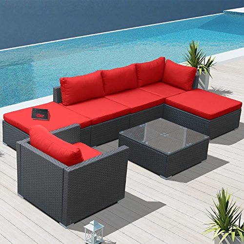 Modenzi L7 U Outdoor Sectional Patio Furniture Espresso Brown Wicker Sofa  Set (Red)