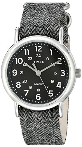 Timex Unisex TW2P720009J Weekender Collection Stainless Steel Watch With Tweed Band