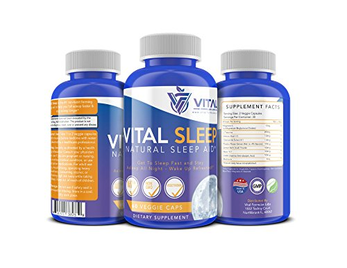 Vital Natural Sleep Aid Dietary Supplement: Adult Nighttime Non Habit Forming Pills with Melatonin, Magnesium, Passionflower, Valerian, Chamomile and More - 60 Gluten Free, Non GMO Veggie Capsules
