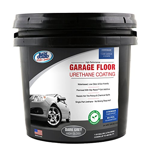 Industrial Epoxy Paint - Rain Guard Water Sealers SP-1500 Dark Grey Garage Floor Urethane Sealer Single Part Ready to USE Covers up to 200 Sq. Ft. 1 Gallon