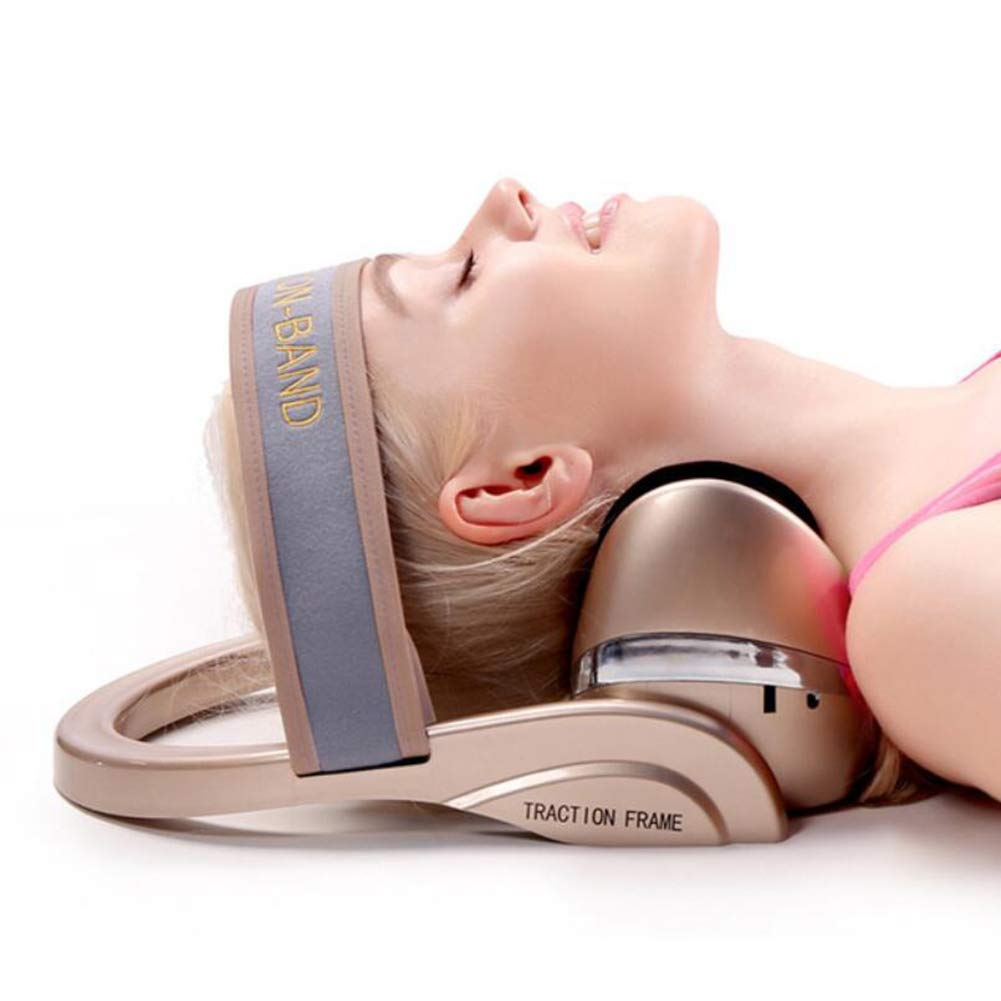 WANG Electric Household Multifunction Cervical Neck Traction Device Neck Massage Pillow Airbag Extrusion Infrared Heating Vibration Compress Kneading Reducing Fatigue
