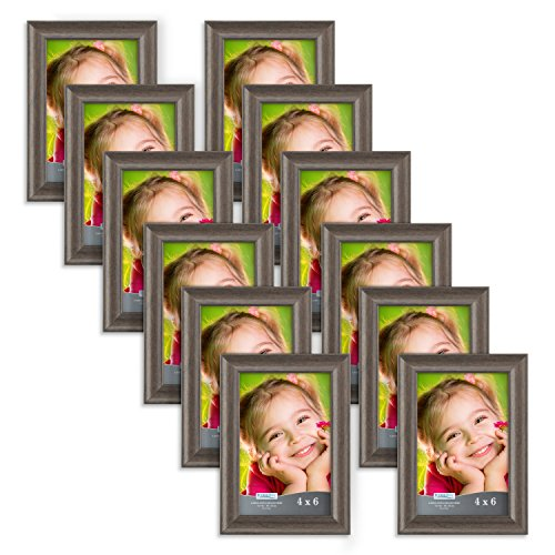 Icona Bay 4x6 Picture Frame (12 Pack, Hickory Brown), Photo Frame 4 x 6, Composite Wood Frame for Walls or Tables, Set of 12 Lakeland Collection