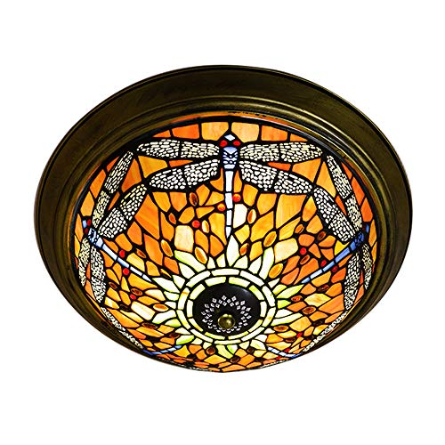Pattern Tiffany Shade - JINGUO Lighting Dragonfly Pattern Tiffany Style Flush Mount Ceiling Light with Colorful Glass Shade Decorative Hanging Tiffany Lamps for Livingroom, Corridor, Bedroom Red