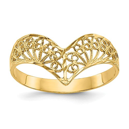 14k Yellow Gold Filigree Band Ring Size 7.00 Fine Jewelry Gifts For Women For Her ()