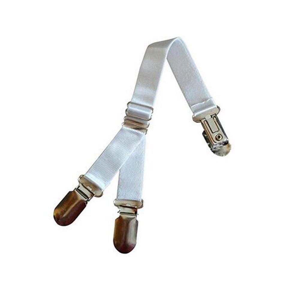 1 Paire réglable élastique Y-style bas clip porte-jarretelles porte-jarretelles ceinture chemise chaussette reste titulaire avec fermoir en métal (blanc) erioctry