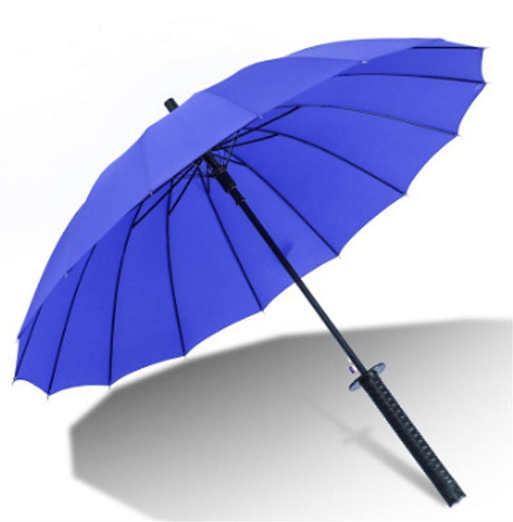 17Rainbow Long Handle Samurai Sword Katana Handle Umbrella Semi-Automatic Pongee Rain Sun Umbrella with 16 Ribs (Blue)