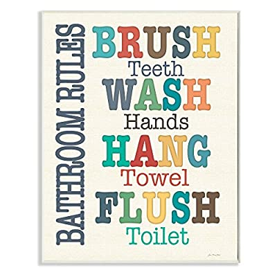 Colorful Bathroom Rules Wall Plaque Art