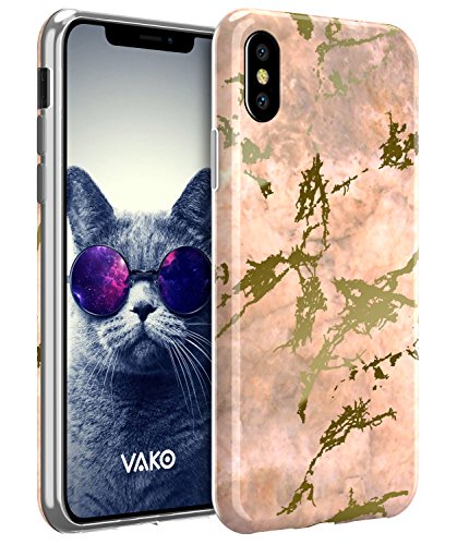 iPhone X Case, VAKO luxury Shiny Rose Gold Marble Design, [Support Wireless Charging] Clear Bumper TPU Soft Cover Case for Apple iPhone X (Rose Gold)