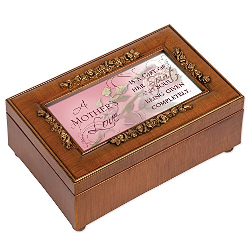 Cottage Garden Mother's Love Gift of Her Spirit Woodgrain Embossed Jewelry Music Box Plays Wonderful World