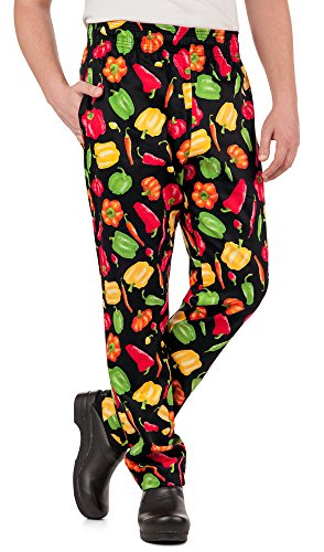 Men's Peppers Print Chef Pant (XS-3X) (X-Large) by ChefUniforms.com