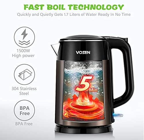 VOSEN Electric Kettle Electric Tea Kettle 1.7L Double Wall Stainless Steel