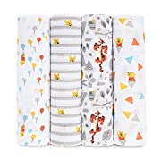 aden by aden + anais Disney Swaddle Baby Blanket, 100% Cotton Muslin, 44 X 44 inch, 4 Pack, Winnie the Pooh