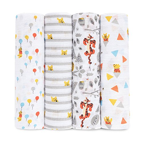 - aden + anais Disney Classic Swaddle Baby Blanket; 100% Cotton Muslin; Large 44 X 44 inch; 4-pack; graphic winnie