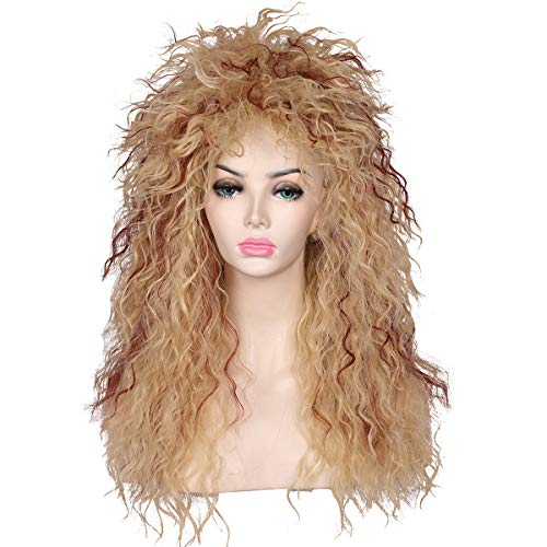 ColorGround Long Curly 80s Women Blonde with Reddish Brown Rocker Wig
