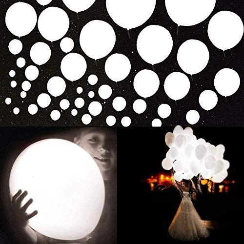 White Led Balloons - 60 Pack 12 inch White LED