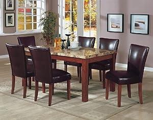 Amazon Com 7pcs Granite Top Dining Table Amp 6 Brown