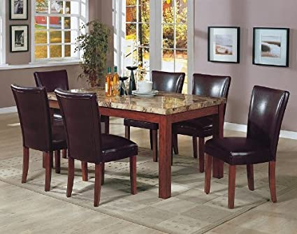 7PCS Granite Top Dining Table U0026 6 Brown Parson Chairs Set