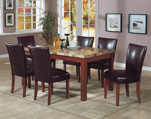 Amazon.com   7PCS Granite Top Dining Table U0026 6 Brown Parson Chairs Set    Table U0026 Chair Sets